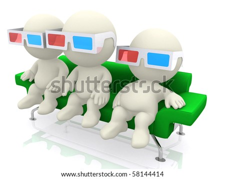 3d person watching movies with 3d glasses isolated over a white background - stock photo