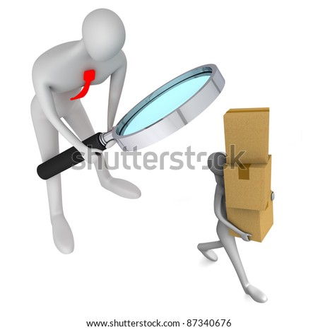 3d person watching on 3d man holding a cardboard boxes