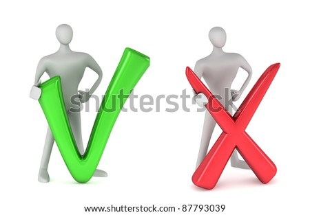 3d person with a green tick and 3d person with red negative symbol