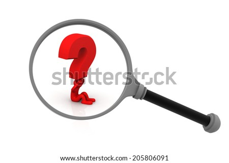 3d person with a magnifying glass and a question mark	 - stock photo
