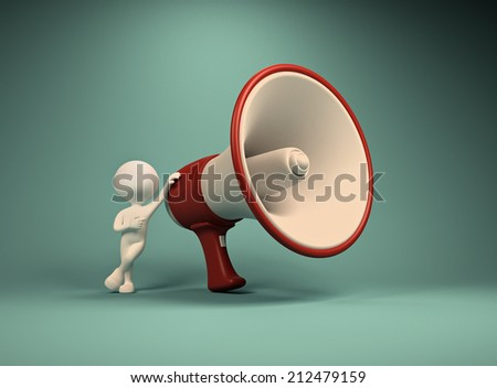 3d  person with a megaphone  - stock photo