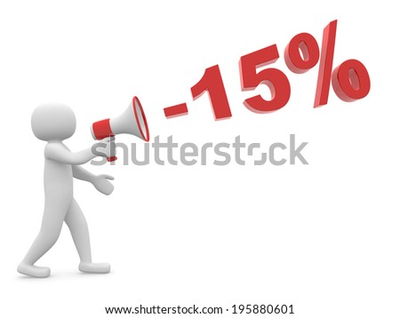 "3d person with a megaphone and word "" -15%"" - 3d render illustration"