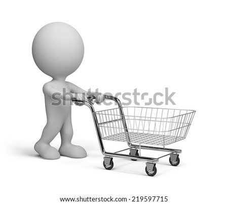 3d person with basket goes shopping. 3d image. White background.