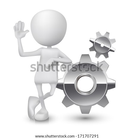 3d person with gears