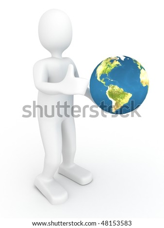 3d person with globe. 3d render