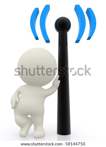 3D person with hand on a wireless sign - isolated over a white bckground - stock photo