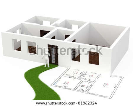 3d person with house - stock photo