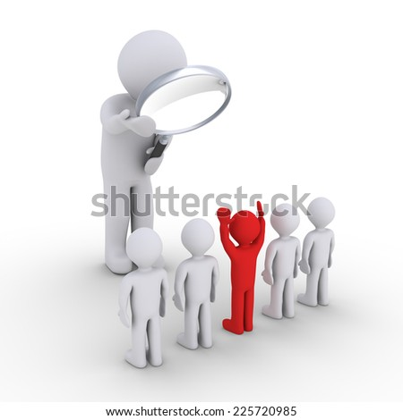 3d person with magnifier looking at people in line and one stands out - stock photo