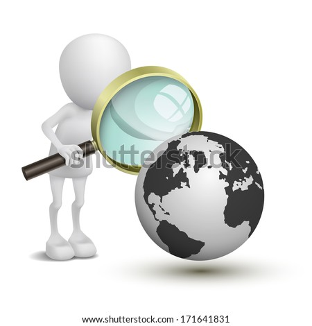 3d person with magnifying glass looking at Earth - stock photo