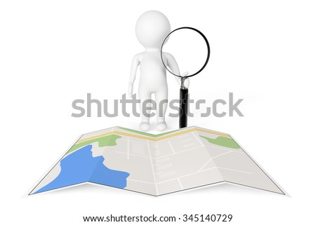 3d Person with Magnifying Glass near City Map on a white background - stock photo