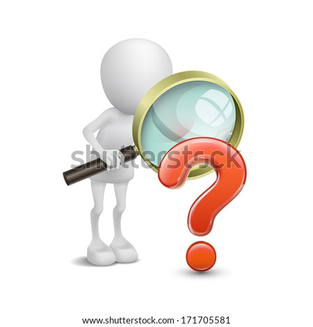 3d person with magnifying glass question mark red search - stock photo