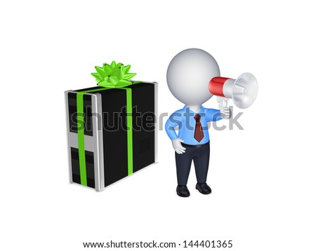 3d person with megaphone and PC.Isolated on white.3d rendered. - stock photo