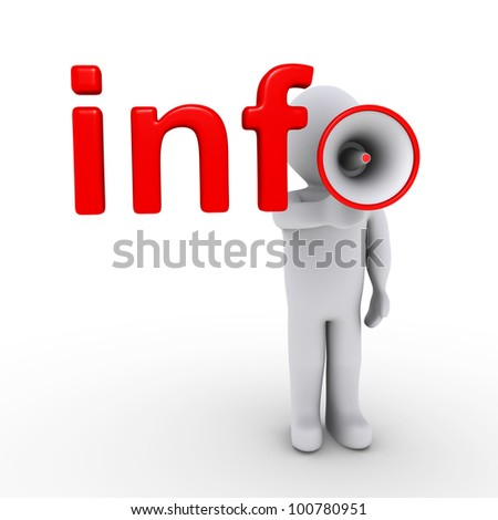 3d person with megaphone completing info letters - stock photo