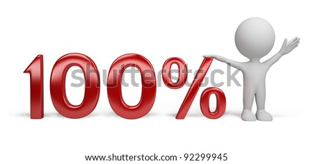 3d person with percent. 3d image. Isolated white background.