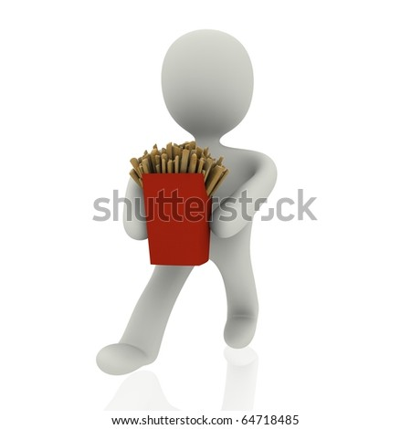 3d person with pomes frites