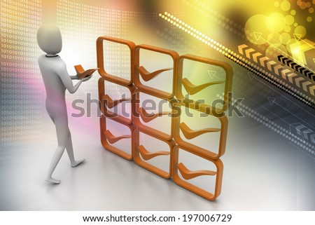 3d person with positive symbol in hands - stock photo
