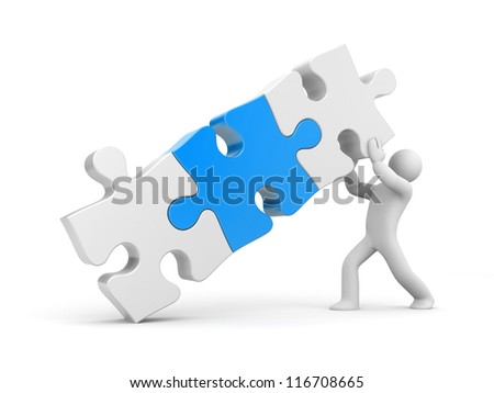 3d person with puzzle - stock photo