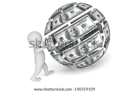 3d person with Sphere from money on a white background