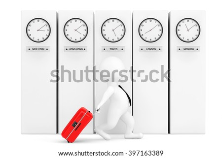 3d Person with Suitcase in front of Columns with Time Zone Clocks showing different time  - stock photo