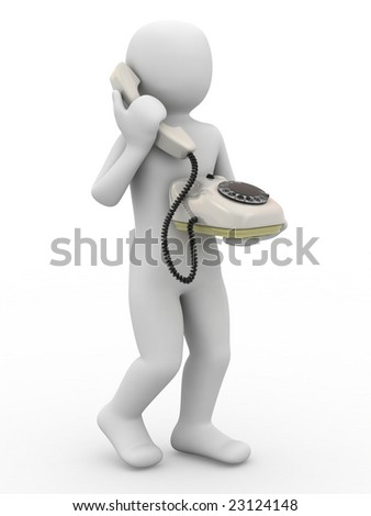 3d person with telephone on white background