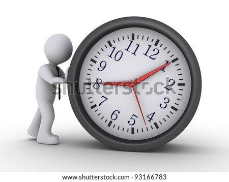 3d person with tie is pushing a clock - stock photo