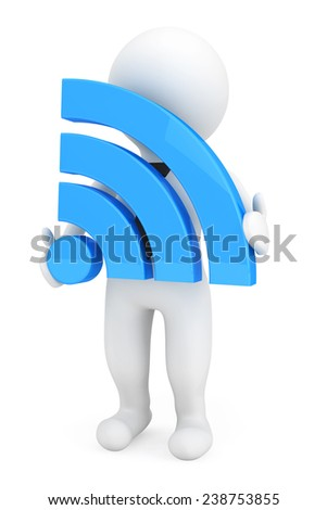 3d Person with Wi-Fi Sign on a white background - stock photo