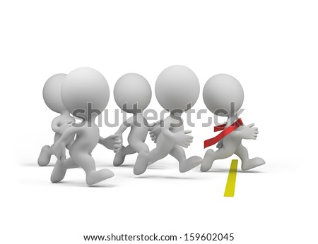 3d person won the competition. 3d image. White background. - stock photo