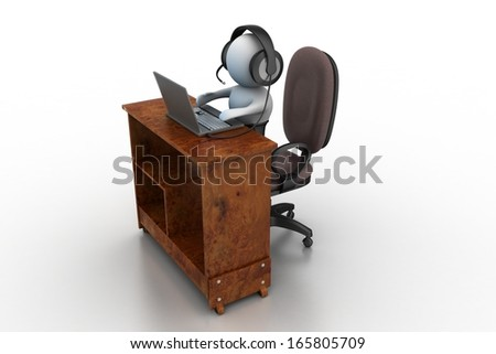 3d person working with Headphones with Microphone and laptop.