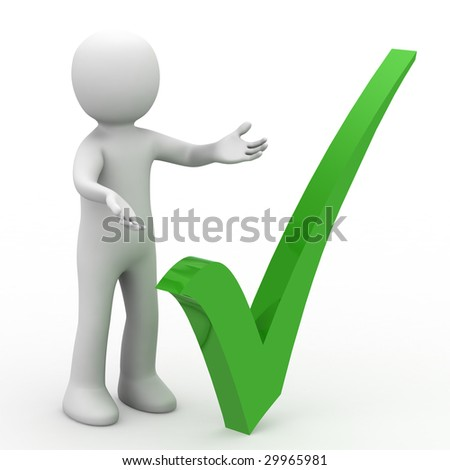 3d personage and positive symbol on white background.