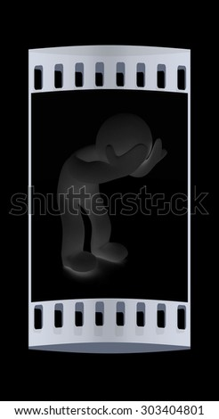3d personage with hands on face on black background. Starting series: human emotions. The film strip - stock photo