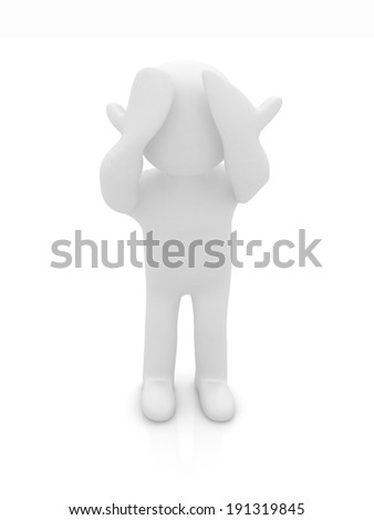 3d personage with hands on face on white background. Series: human emotions - stock photo