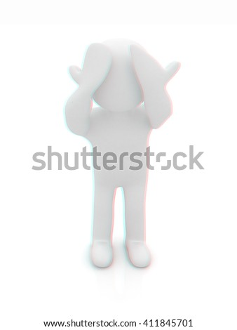 3d personage with hands on face on white background. Series: human emotions. 3D illustration. Anaglyph. View with red/cyan glasses to see in 3D. - stock photo