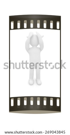 3d personage with hands on face on white background. Series: human emotions. The film strip - stock photo