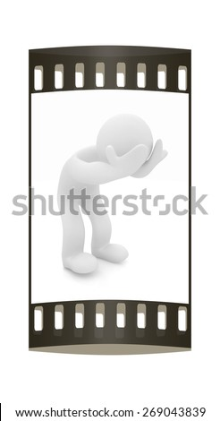 3d personage with hands on face on white background. Starting series: human emotions. The film strip - stock photo