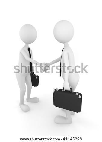 3D persons shaking their hands and finishing a successful business deal - stock photo