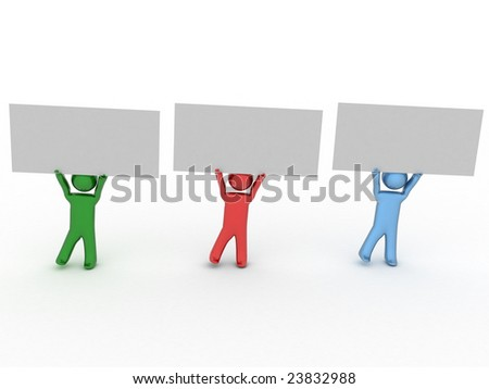 3d persons with poster. - stock photo