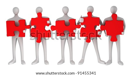 3d persons with puzzles on a white background - stock photo