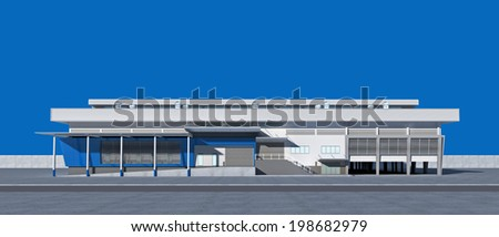 3D Perspective rendering of exterior building