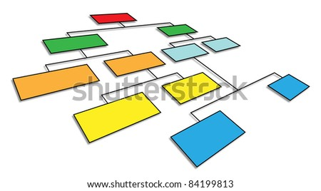 3d perspective view of organizational chart - stock photo
