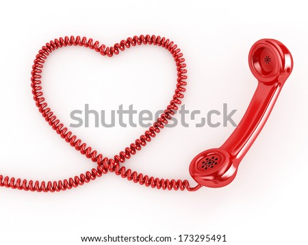 3d Phone Reciever with Heart Cord - isolated - stock photo