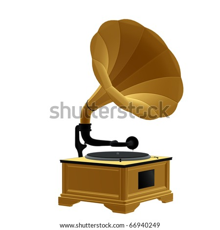 3D phonograph on a white background