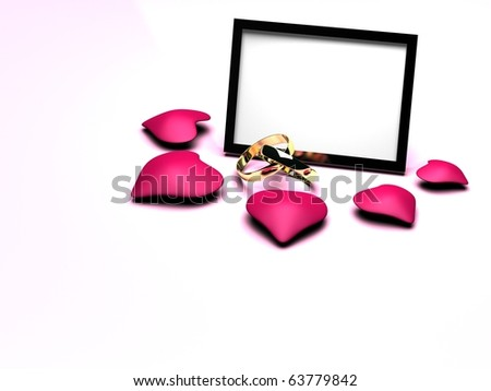 3d Photo Frame and wedding rings - stock photo