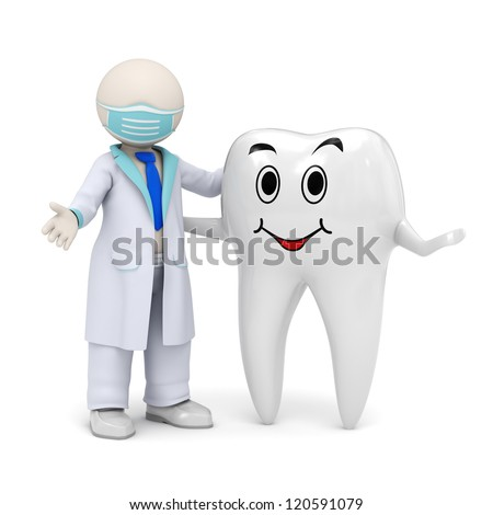 3d photo-realistic render of a 3d dentist and a smiling tooth standing in welcome pose - stock photo