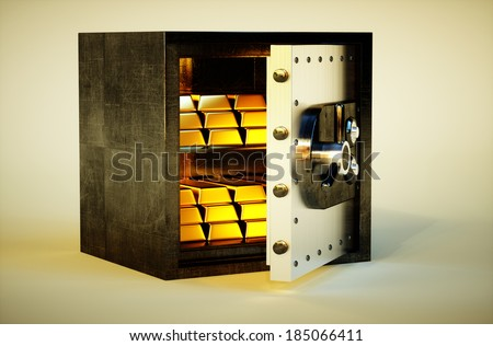 3d photo realistic vivid image of safe deposit box with golden bars - stock photo