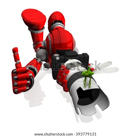 3D Photographer Robot Red Color With DSLR Camera And Dragon Fly on top of Zoom White lens, thumbs up