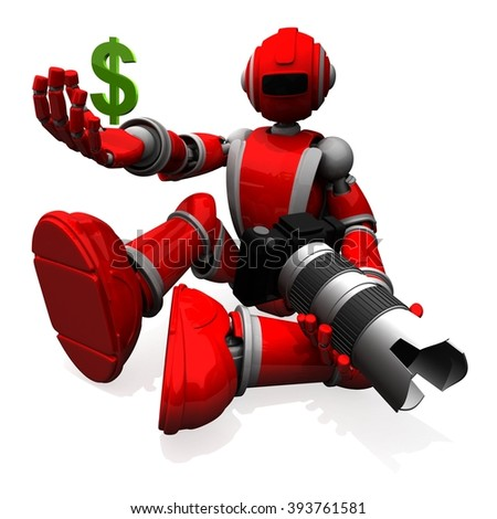 3D Photographer Robot Red Color With DSLR Camera and Holding A Money Symbol