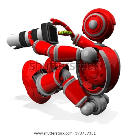 3D Photographer Robot Red Color With DSLR Camera and Worm