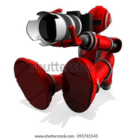 3D Photographer Robot Red Color With DSLR Camera and Zoom Lens