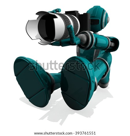 3D Photographer Robot Turquoise Color With DSLR Camera and Zoom Lens