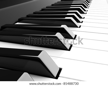 3d piano black and white keyboard - stock photo